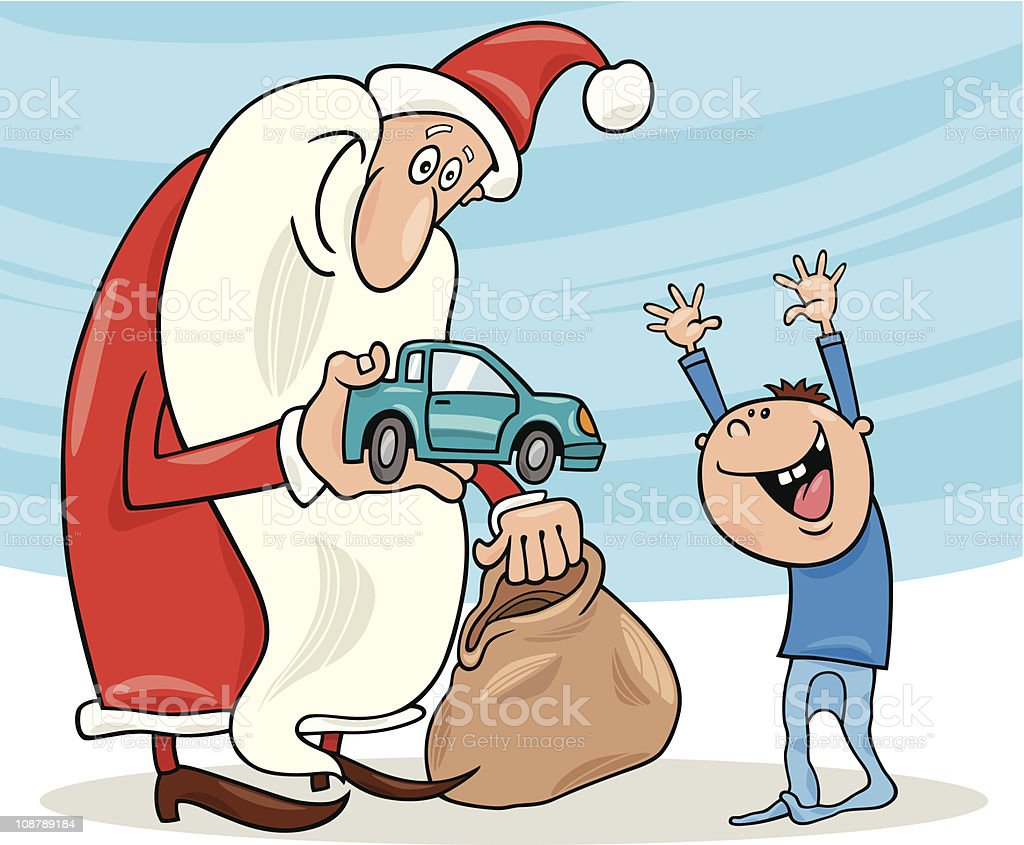 santa claus and little boy royalty-free stock vector art