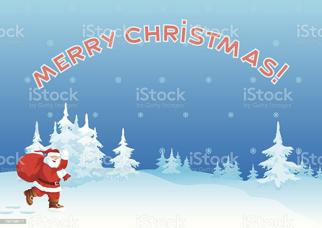Santa Claus and Merry Christmas royalty-free stock vector art