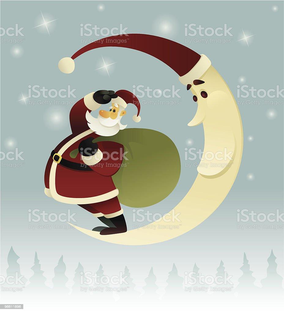 santa claus and moon - Royalty-free Adult stock vector