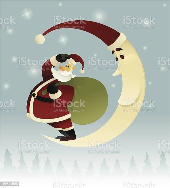 Santa Claus And Moon-vektorgrafik och fler bilder på Bisarr