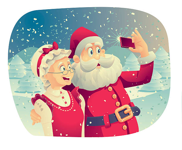 santa claus and mrs. claus taking a photo together - old man pic cartoons stock illustrations, clip art, cartoons, & icons