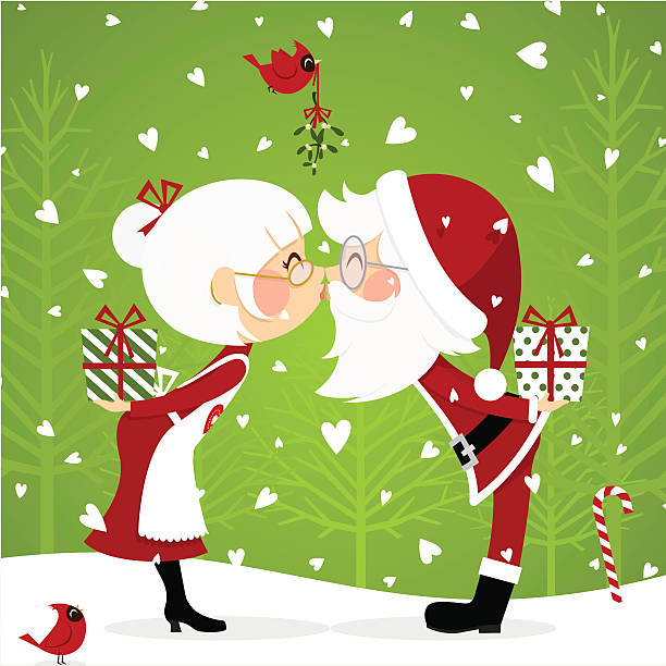 santa claus and mrsclaus - old man kissing stock illustrations, clip art, cartoons, & icons