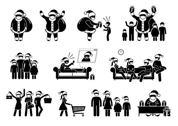 ilustraciones, imágenes clip art, dibujos animados e iconos de stock de papá noel y las personas que usan máscara facial durante la pandemia en navidad. - zoom meeting