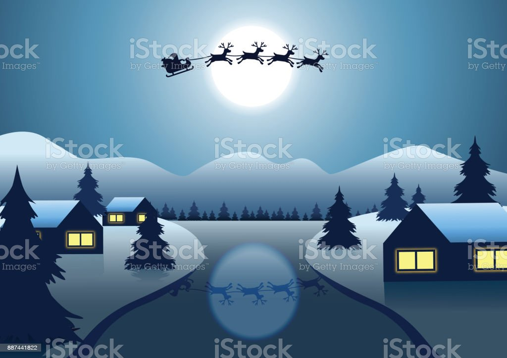 Santa Claus and reindeer fly over the village near river around with hill Christmas tree on night to send gift to everyone vector art illustration