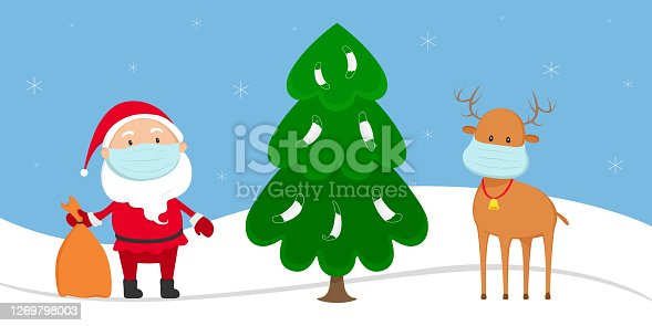 Santa Claus and reindeer in medical masks stand near Christmas tree. Vector illustration