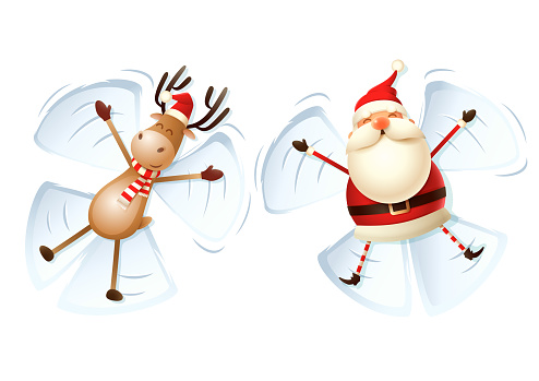 Santa Claus and Reindeer make angels in snow vector illustration isolated on white background