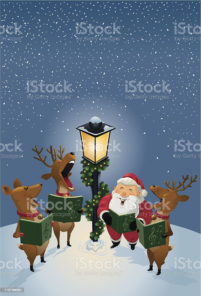 Santa Claus and Reindeer Singing Christmas Carols by Lamp Post vector art illustration