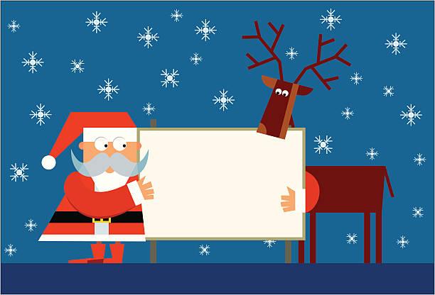 ilustraciones, imágenes clip art, dibujos animados e iconos de stock de santa claus con renos y mensaje de navidad - tintanegra00