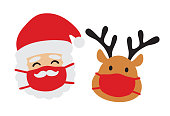 istock Santa Claus and Reindeer with Face Mask Vector 1278512670