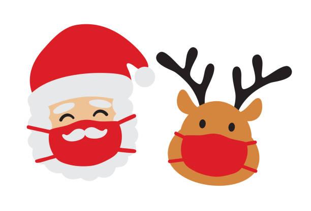 weihnachtsmann und redes mit gesichtsmaske vektor - santa stock-grafiken, -clipart, -cartoons und -symbole