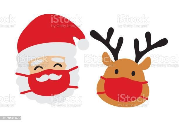Weihnachtsmann Und Redes Mit Gesichtsmaske Vektor Stock Vektor Art und mehr Bilder von Abstand halten - Infektionsvermeidung
