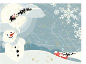 A Christmas background scene, Santa waves as he flies into the sky and over a snowy village! A stylized vector cartoon reminiscent of an old screen print poster, Santa,Houses, snowman,clouds, paper texture and background are on different layers for easy editing. Please note: clipping paths have been used,  an eps version is included without the path.
