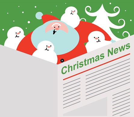 Santa Claus and Snowman are reading the newspaper (Christmas News)