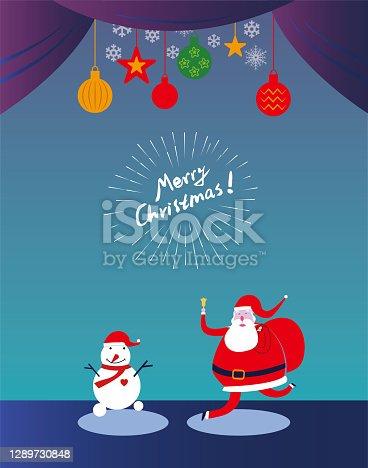 Papai Noel e Boneco de Neve celebram o Dia de Natal