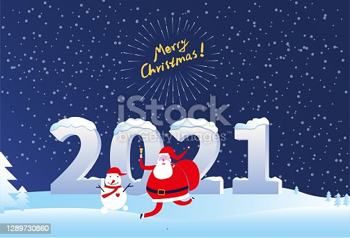 Papai Noel e Boneco de Neve cumprimentam 2021