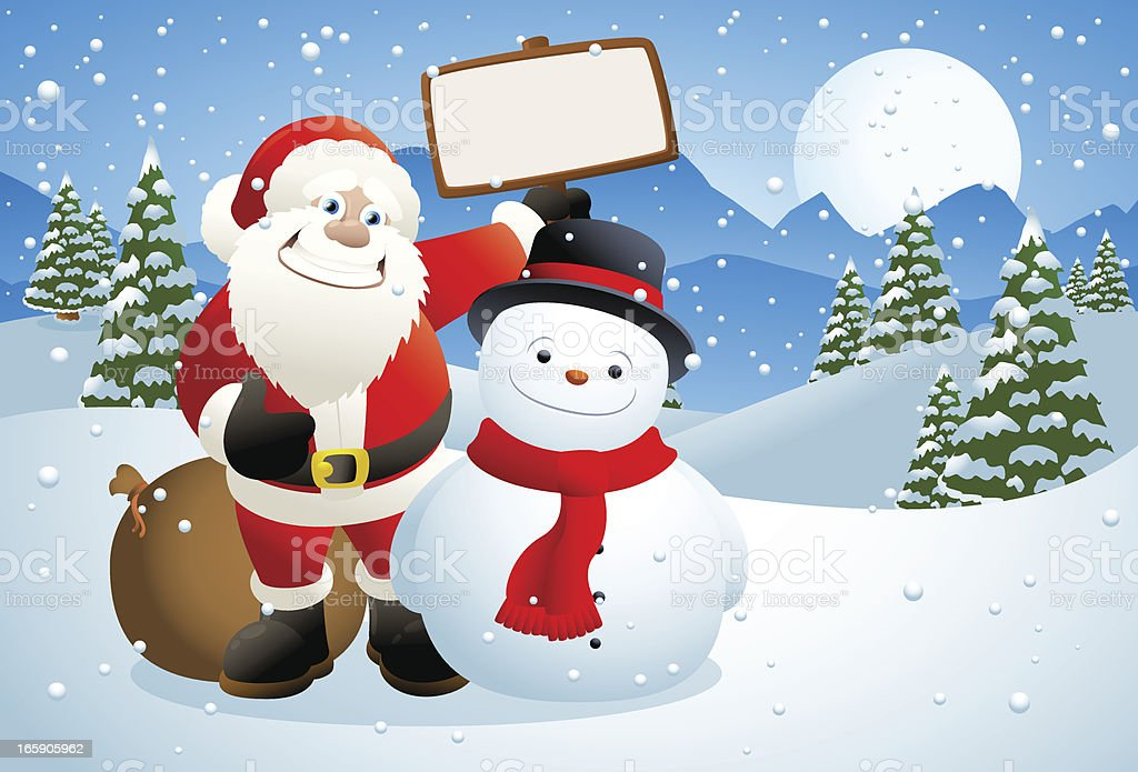 Santa Claus and snowman holding a blank sign royalty-free santa claus and snowman holding a blank sign stock vector art & more images of bag