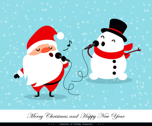stockillustraties, clipart, cartoons en iconen met santa claus en snowman zingen. emotionele kerstmis en nieuwjaar tekens. humoristische xmas collectie. vectorillustratie - zingen