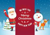 Santa Claus, reindeer and snowman with signboard. Christmas greeting card. Vector illustration
