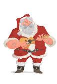 Illustration of Santa Claus playing cavaquinho, popular instrument in Brazil.