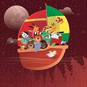 vector illustration of santa claus and wild animals sailing…