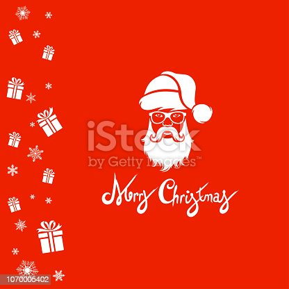 Christmas greeting card with Santa Claus gifts.