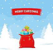 Santa Claus bag with of gifts boxes on winter landscape background. Red sack with presents. Merry christmas, holidays concept. Christmas shopping. Vector flat illustration.