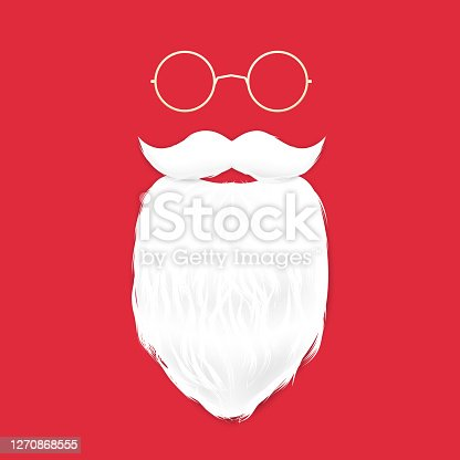 istock Santa claus beard and mustache and glasses. 1270868555