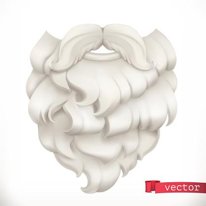 Santa Claus beard. Christmas mask 3d vector icon