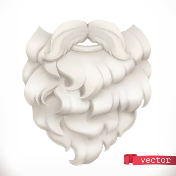 stockillustraties, clipart, cartoons en iconen met de baard van santa claus. kerst masker 3d vector icon - baard