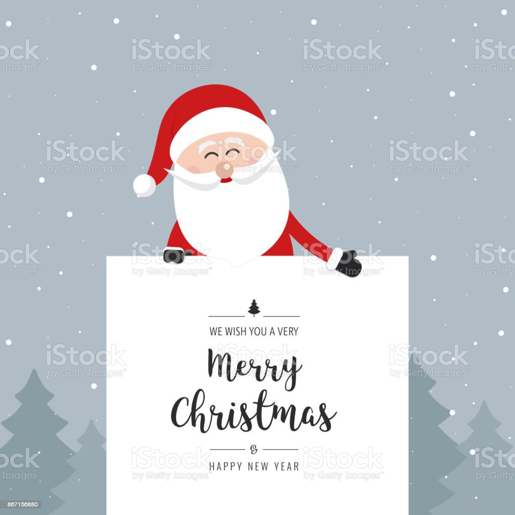 Santa claus behind banner merry christmas greeting text winter santa claus behind banner merry christmas greeting text winter landscape background royalty free santa claus m4hsunfo