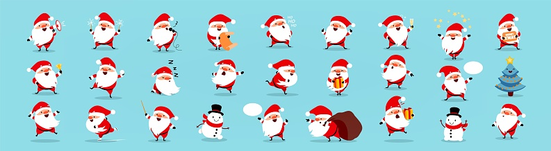 Santa Claus big Christmas and New Year set. Isolated vector illustration