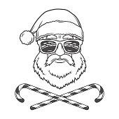 Santa Claus biker with candy cones print design. Vintage disco
