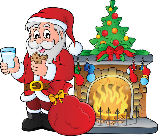 santa claus frühstück thema 3 - kaminverkleidungen stock-grafiken, -clipart, -cartoons und -symbole