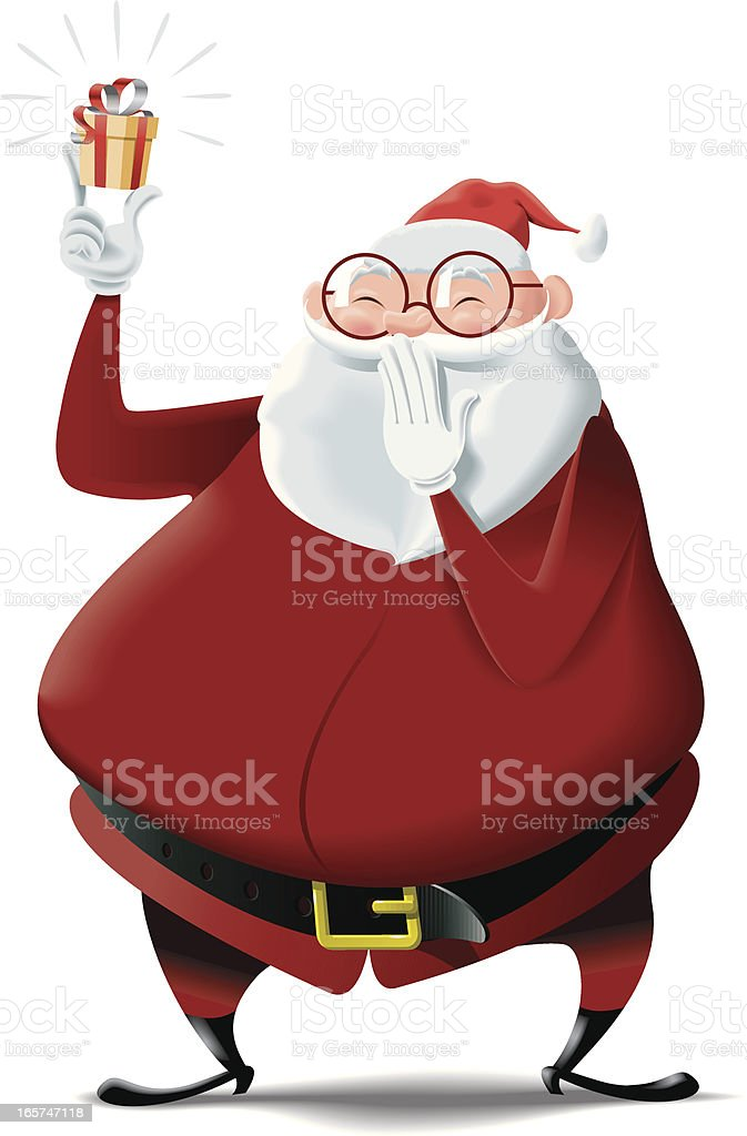 Santa Claus brings a tiny gift for you royalty-free santa claus brings a tiny gift for you stock vector art & more images of beard