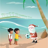 santa claus brings the football in to brazil