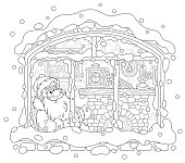 Smiling Father Christmas looking through a window and basking near his old fireplace after a winter walk in a snowy forest, black and white vector illustration in a cartoon style for a coloring book