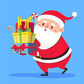 Santa Claus carry gifts stack. Christmas gift box carrying in hands. Heavy stacked winter holidays presents giving, xmas noel greeting card flat vector cartoon illustration