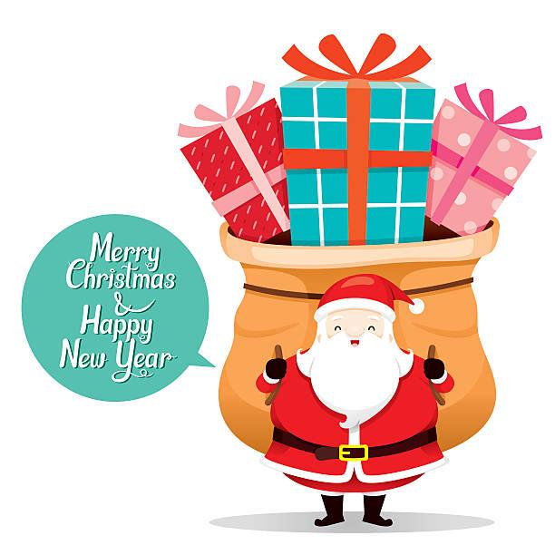 royalty free cute santa claus with big gifts bag clip art vector
