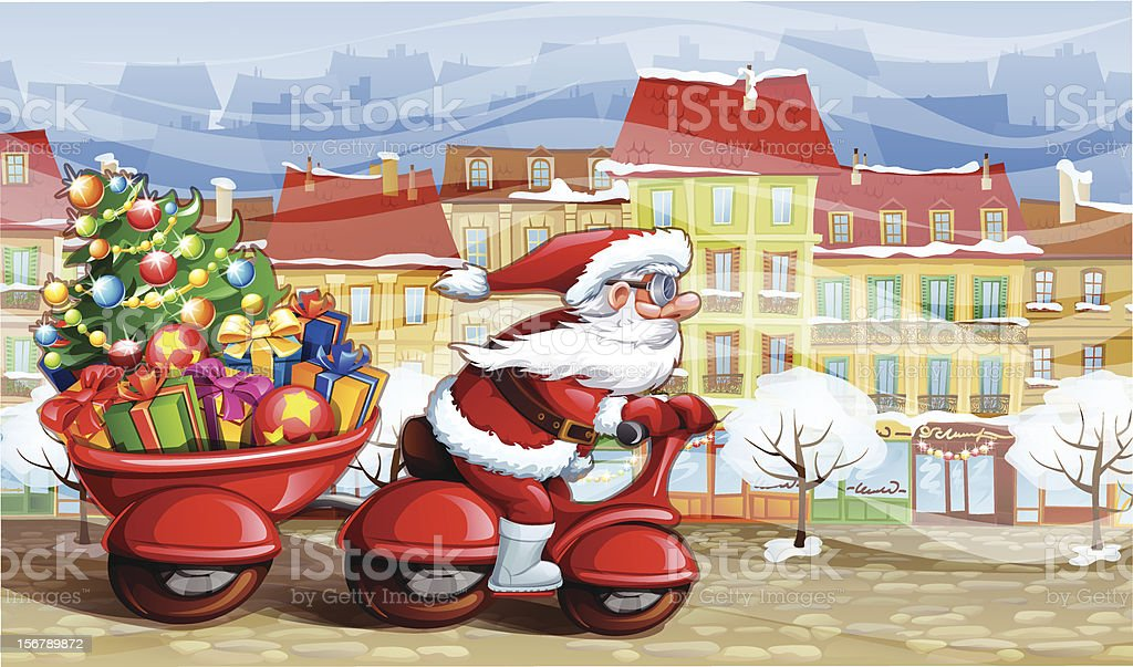 Santa Claus carrying Christmas gifts royalty-free stock vector art