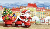 Vector illuatration of Santa Claus driving his motorbike and carrying Christmas gifts. Santa and street background are placed onto separate layers so can be removed easily. The illustration contains transparency effects. The file was saved as AI10 version.