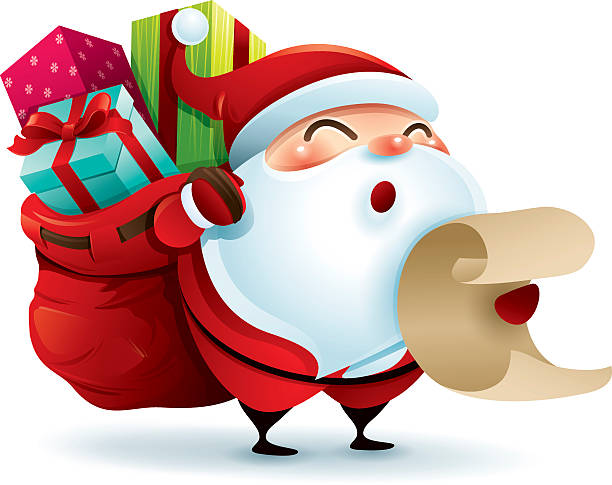 Santa Claus carrying sack and holding a list vector art illustration