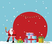 vector illustration - Santa Claus carrying sack full of gifts