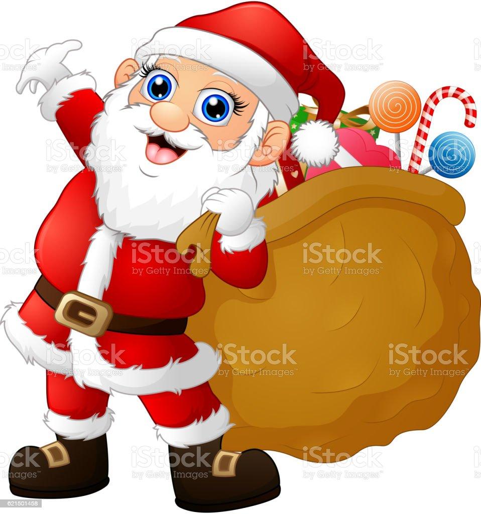 Santa Claus portant sac fourre-tout rempli de cadeaux santa claus portant sac fourretout rempli de cadeaux – cliparts vectoriels et plus d'images de cadeau libre de droits