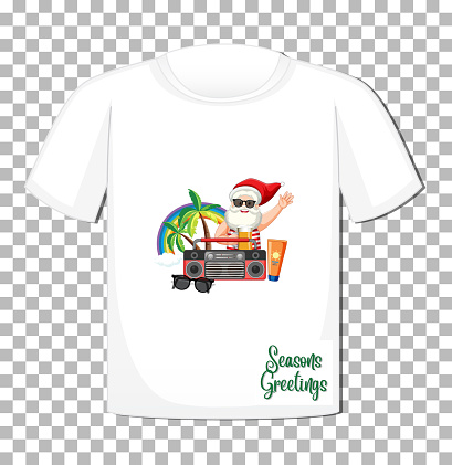 Santa Claus cartoon character in Christmas Summer theme on t-shirt on transparent background