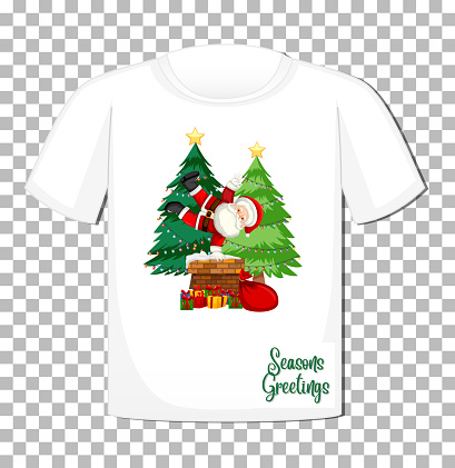 Santa Claus cartoon character in Christmas theme on t-shirt on transparent background