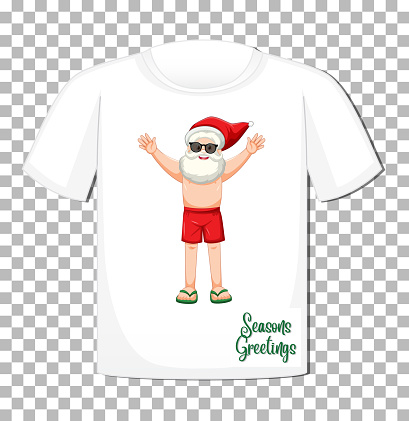 Santa Claus cartoon character on t-shirt isolated on transparent background