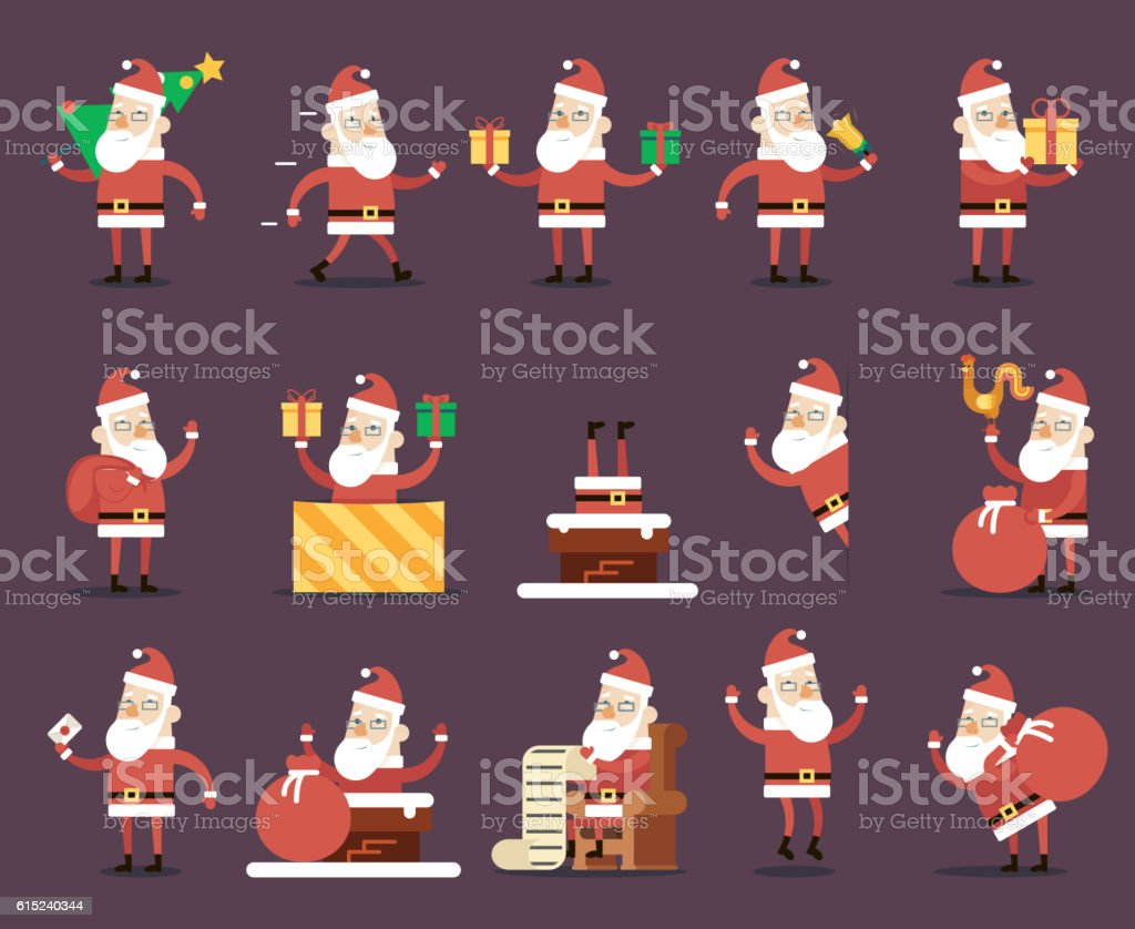 Santa Claus Cartoon Characters Poses Christmas New Year Icons Set vector art illustration