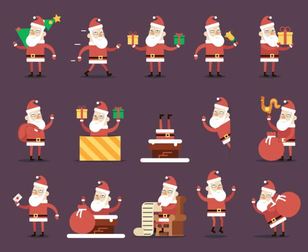 santa claus cartoon characters poses christmas new year icons set - kaminverkleidungen stock-grafiken, -clipart, -cartoons und -symbole