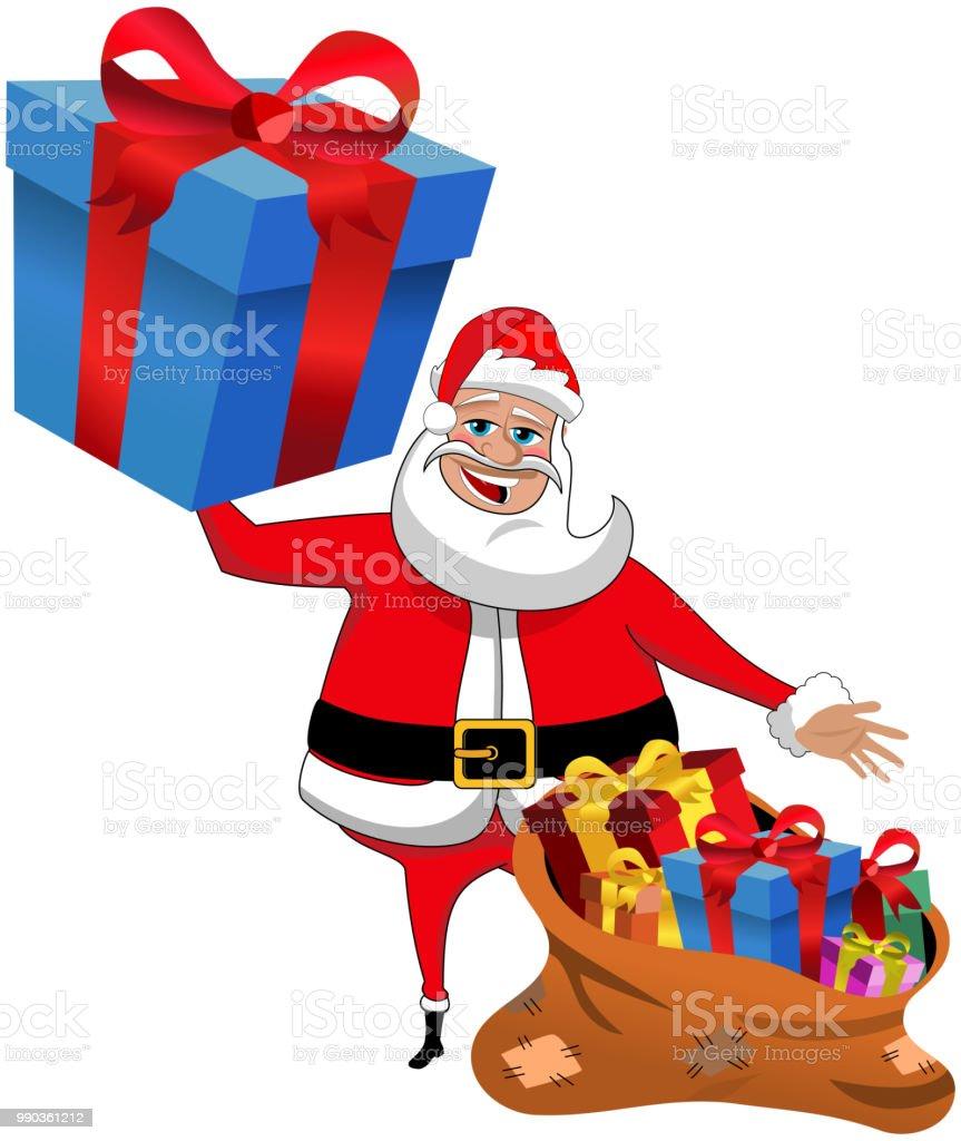 Weihnachtsmann Cartoon Halten Große Verpackt Geschenk Zeigt Sack ...