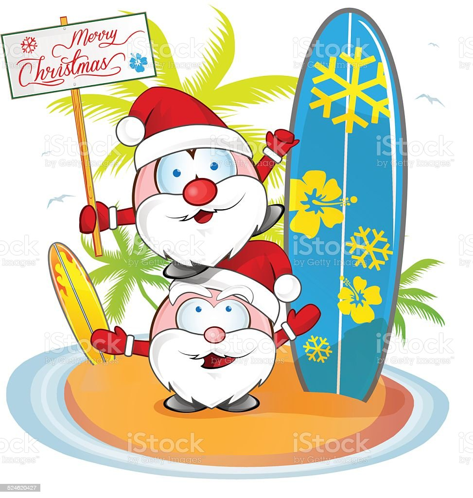 Santa claus cartoon on island beach stock vector art